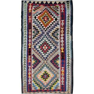 "Vintage Persian Flatweave Kilim Rug – Size: 5' 5"" X 9' 3"" For Sale"