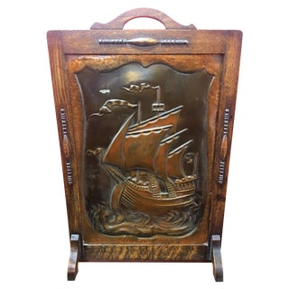 Antique Embossed Copper Nautical Fireplace Screen For Sale