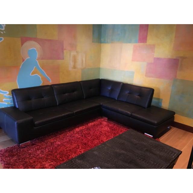 Scandinavian Design 2 Piece Black Leather Sectional Sofa - Image 6 of 6