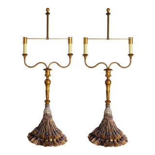 1990s Tyndale Lamps for Frederick Cooper Double Gilded Candelabra Tassel Lamps - a Pair For Sale