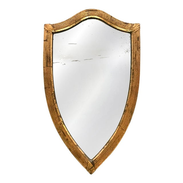 Gold Antique English Gilded Shield-Shaped Mirror For Sale - Image 8 of 8