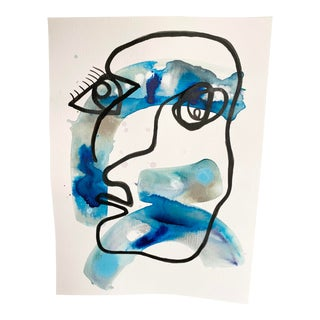 """""""Whats Her Face"""" Original Mixed Media Painting on Paper in Blues For Sale"""