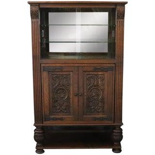 Bar Cabinet Renaissance Carved Oak French Vintage For Sale