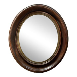 Small Walnut Oval Wall Mirror For Sale