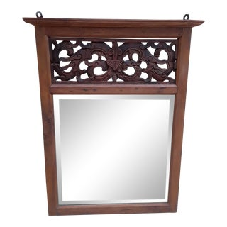 Hand Carved Teak Wood Mirror For Sale
