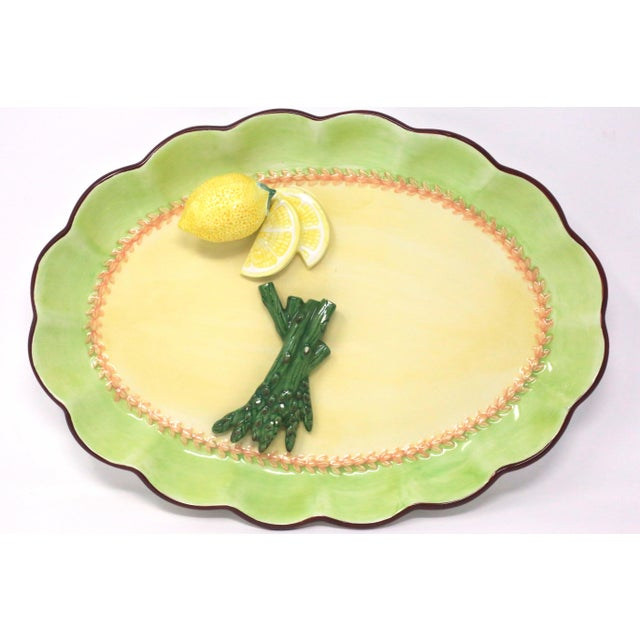 Vintage Hand-Painted Trompe l'Oeil Lemon and Asparagus Decorative Plate For Sale In Tampa - Image 6 of 11