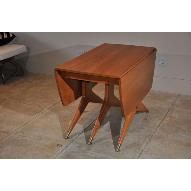 Gold 1950s Mid-Century Modern Drop Leaf Table For Sale - Image 8 of 9