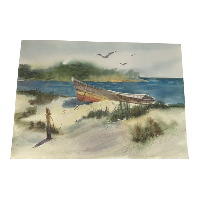 Original Unframed Watercolor Lake Front Scene Painting For Sale