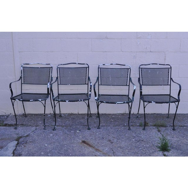 45296ff0e792 ... Table 4 Chairs Meadowcraft Woodard For Sale. Item  Vintage Mid Century  Modern Wrought Iron Outdoor Patio Dining Set Details  Set consists