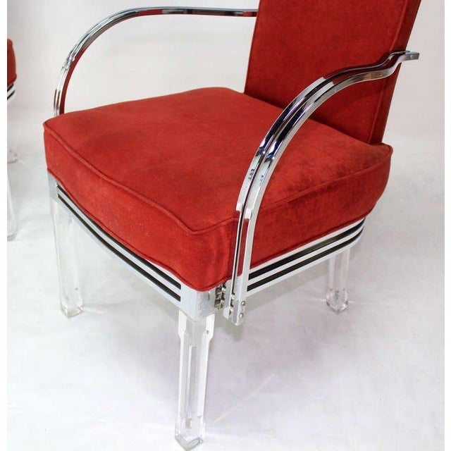 Mid-Century Modern Set of Six Dining Chairs and Table in Lucite, Chrome, Glass For Sale In New York - Image 6 of 9