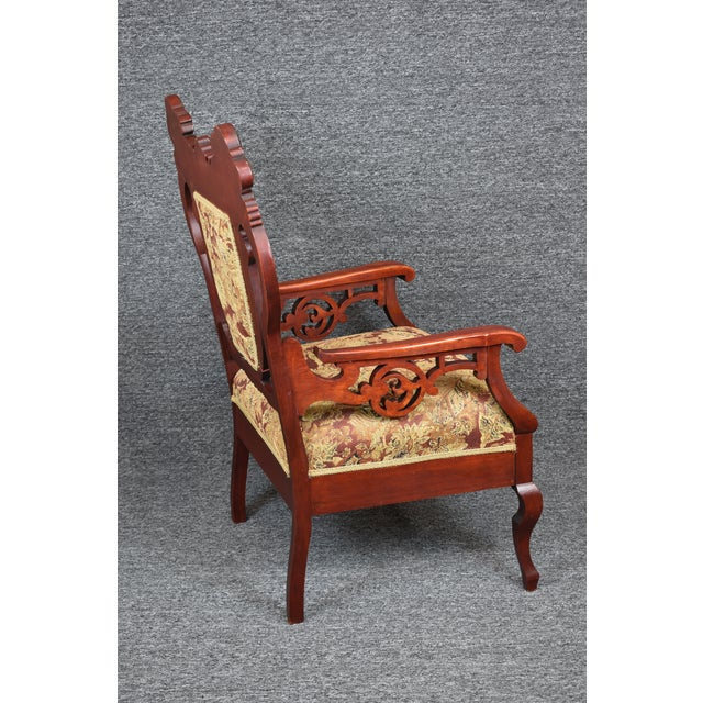 Late 19th Century Antique Old World Carved Shield Back Armchair For Sale - Image 5 of 12