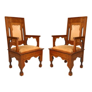 Moorish Walnut and Suede Arm Chairs For Sale