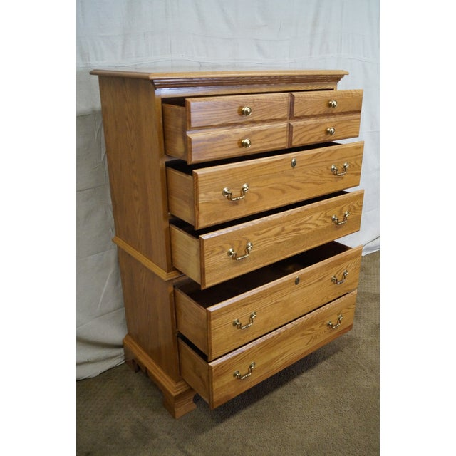 Chippendale Style Solid Oak Tall Chest on Chest For Sale - Image 5 of 10
