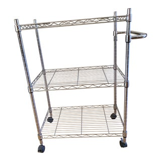 Modern Utilitarian Rolling Shelf Bar Cart For Sale