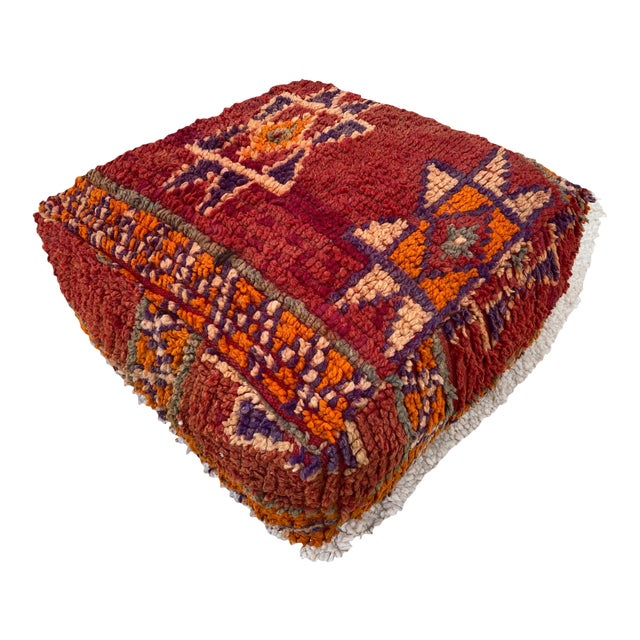Moroccan Red Unstuffed Pouf For Sale