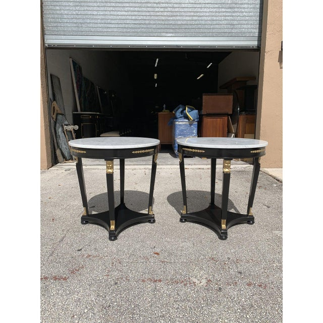 1910s Antique French Empire Marble Top Accent Tables or Gueridon Tables - a Pair For Sale - Image 11 of 13