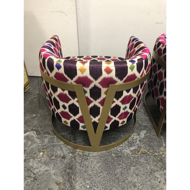 Fabric Nathan Anthony Korz Chair by Tina Nicole + Kravet Fabric - a Pair For Sale - Image 7 of 13