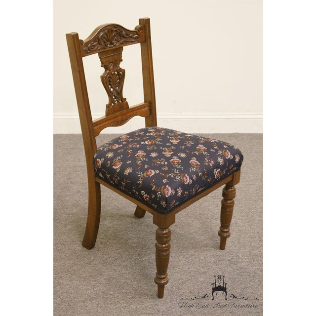 1940's Antique Jacobean Gothic Revival Walnut Dining Side Chair For Sale - Image 4 of 8