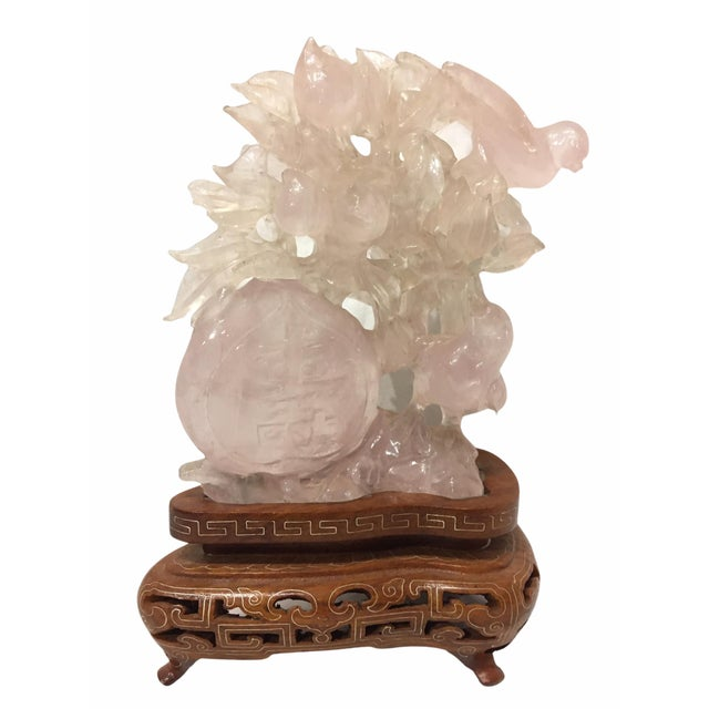 Chinese Carved Rose Quartz Sculpture For Sale - Image 11 of 11