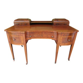Antique Mahogany Desk With Banded Exotic Wood Accents