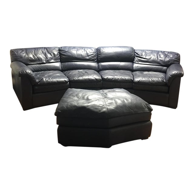 Navy Blue Leather Ottomans: Navy Blue Leather Sectional & Ottoman