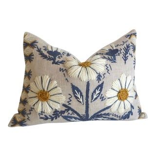 Schumacher Swedish Hand Embroidered Pillow Cover For Sale