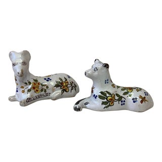 Set of 2 French Faience Dog & Ram Knife Rests Desvres Circa 1890 For Sale