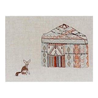 Contemporary Yurt and Fox Framed Art For Sale