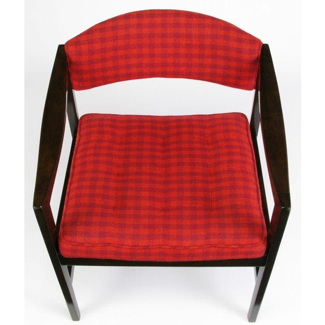 1960s Dunbar Walnut & Crimson Check Upholstered Arm Chair For Sale - Image 5 of 10
