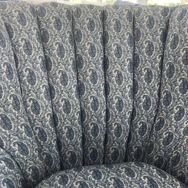 Blue Paisley Upholstered Arm Chair - Image 7 of 7