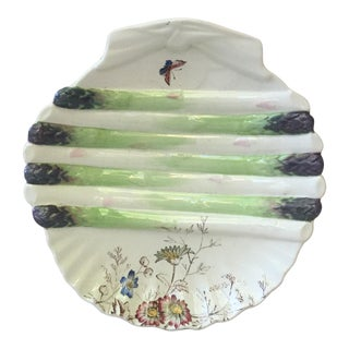 19th-Century English Asparagus Wall Plate With Butterfly For Sale