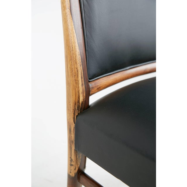 Exotic Jacaranda and Black Leather Dining Chairs, Set of Four, Brazil Circa 1970 For Sale - Image 10 of 11