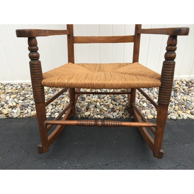 Antique Maple Rush Rocking Chair - Image 9 of 9
