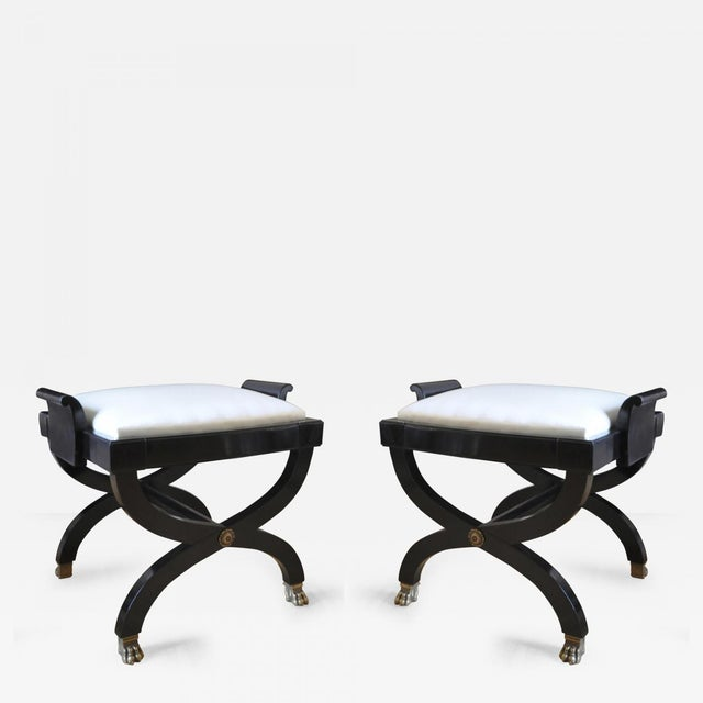 Silk Maison Jansen Superb Pair of X Black Stool With Lion Legs For Sale - Image 7 of 7