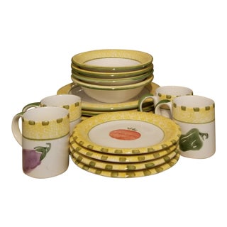 Last Call Vintage Villeroy and Boch New Earthenware Dish Set - 16 Pieces For Sale