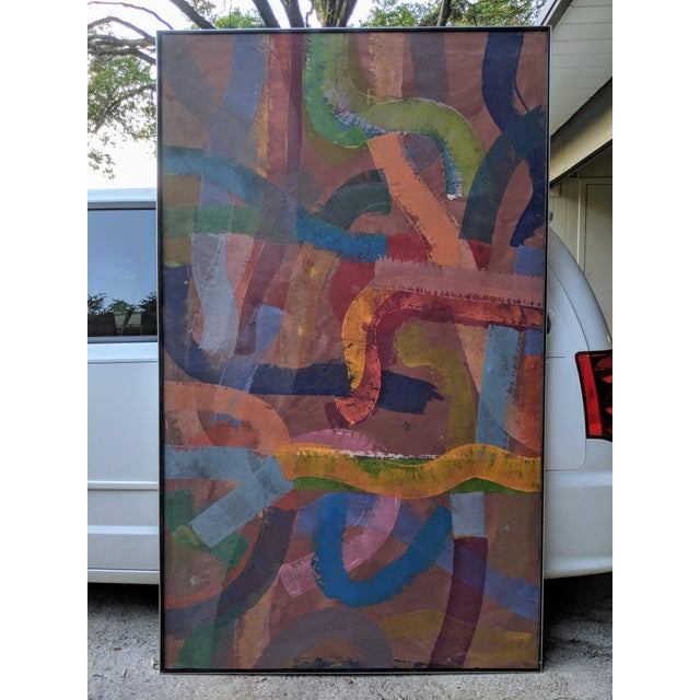 """81"""" Oversize Framed Oil on Canvas Abstract Painting For Sale - Image 4 of 13"""