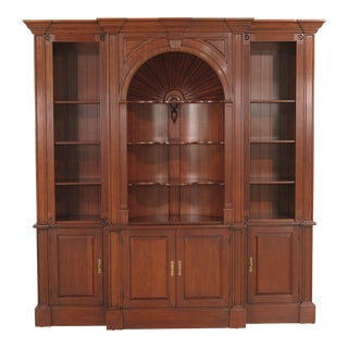 Chippendale Harden Cherry Bookcase W. Reverse Shell For Sale