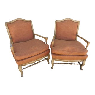 1940s Italian Burnt Orange Fauteuils Chairs - a Pair