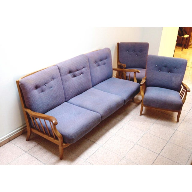 Purple living room set by Hans Wölfl - Set of 3 For Sale - Image 6 of 10
