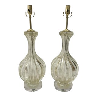Mid-Century Murano Glass and 24k Gold Fleck Table Lamps - a Pair