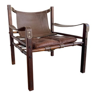 Arne Norell Sirocco Leather & Rosewood Chair For Sale