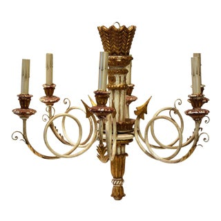 Mid-Century Neoclassical Style Italian Giltwood and Painted Chandelier