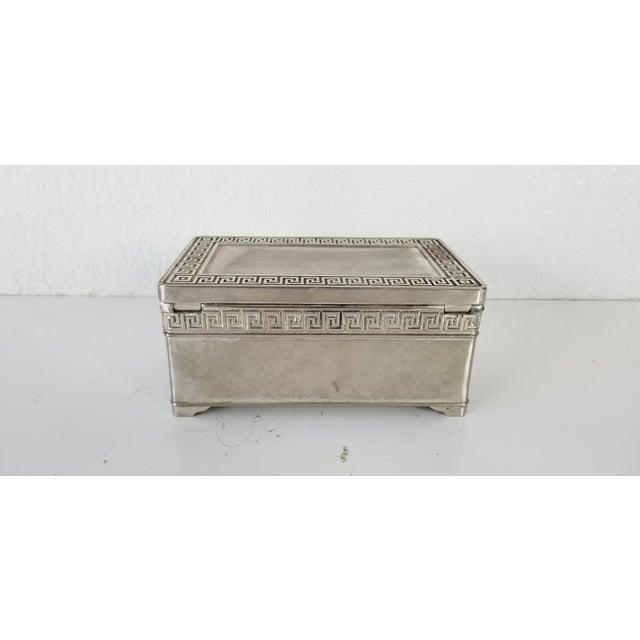 Mid-Century Modern Vintage Vera Lucino Greek Key Design Silver Plate Decorative Box For Sale - Image 3 of 10