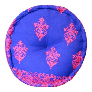 Ornament Embroidered Mathuravati Pouf For Sale
