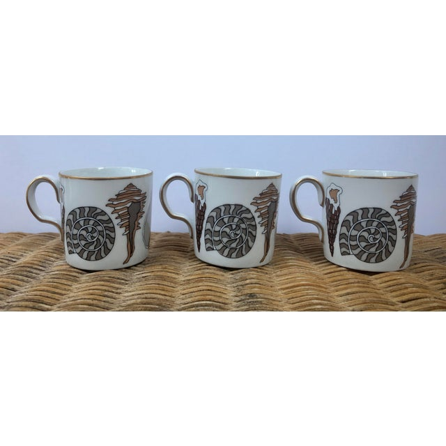 Fitz and Floyd for Neiman Marcus Shell Motif Espresso Demitasse Cups - Set of 3 For Sale - Image 9 of 11