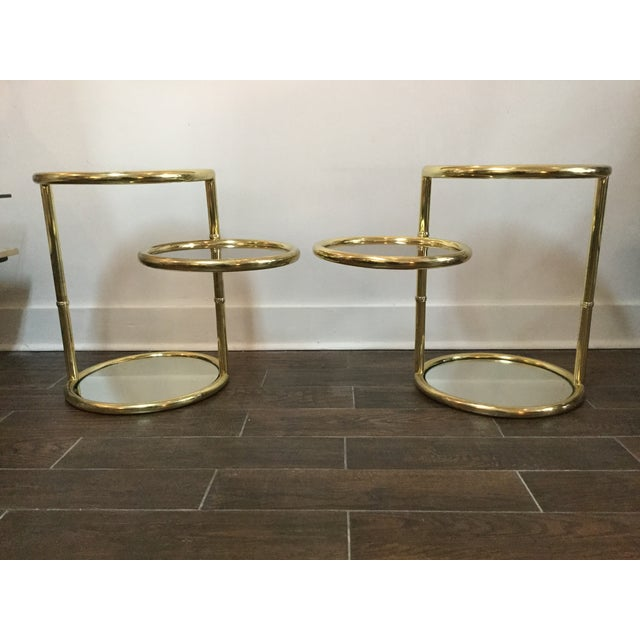 1970's Swivel Brass Side Tables - Image 3 of 11
