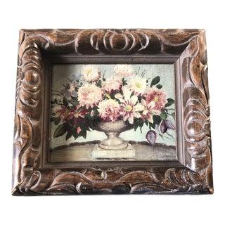 Vintage Original Small Impressionist Still Life Painting Vintage Frame For Sale