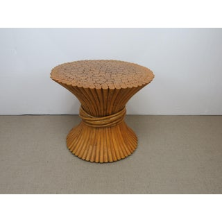 Vintage Hollywood Regency Bamboo Rattan Sheaf of Wheat McGuire Side Table Preview
