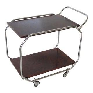 Bauhaus Art Deco Chrome Rosewood Rolling Bar Cart For Sale