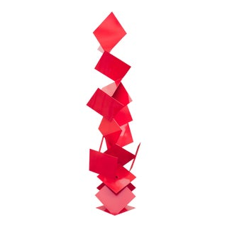 """Sotto"" Oversized Balanced Gravity Abstract Modern Red Powder Coated Steel Sculpture For Sale"